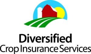 this is the logo for Diversified Crop. It is colorful, blending green, yellow and red to make a field, barn and sun.