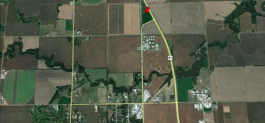 This image shows an aerial map view of the property, which is between U.S. Highway 81 and 13th St. into Geneva, NE.