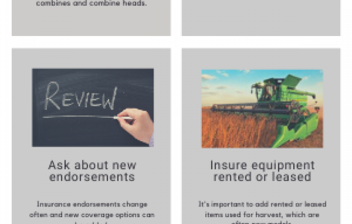This green, gray and white square infographic shares 4 reasons to review your farm policy before harvest; includes pictures of a grain auger, tractor and combine.