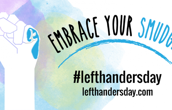 This colorful pastel graphic shows a raised left hand with the text: Embrace the Smudge. It honors Left-handers Day' on Aug. 13.