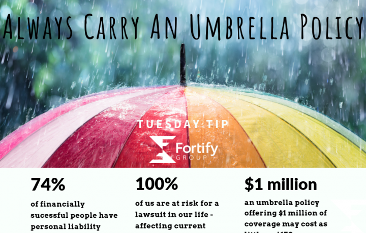 This colorful graphic shows a rainbow-tinted umbrella top with stats about the need for a personal umbrella policy. The picture says 'Some Rain Can't Be Forecasted'.