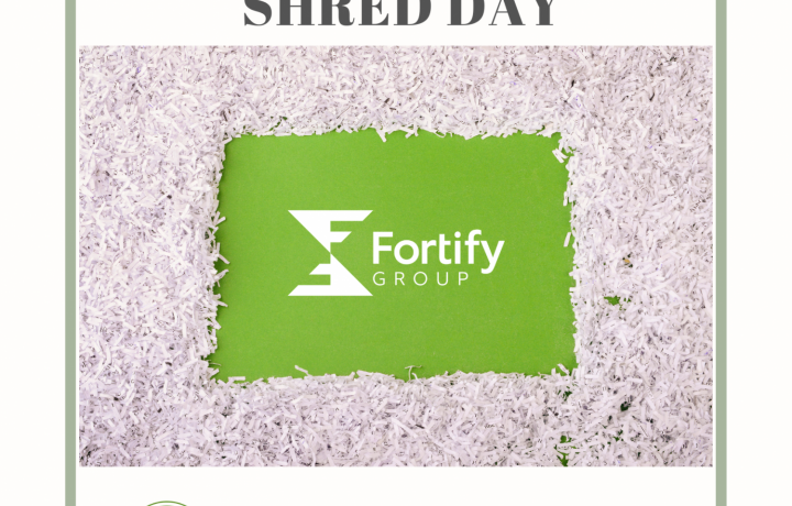 poster with details on the April 22 Shred Day for Earth Day at Fortify Group