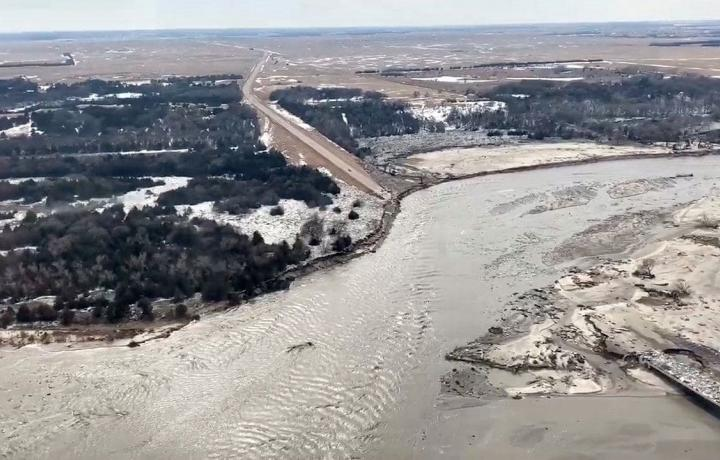 A swollen river in Nebraska destroys a wide swath alongside its banks in this overshot from March of 2019