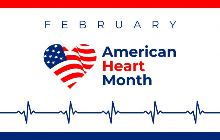 A red, white and blue banner contains a heart and a pulse graph for American Heart Month (February).