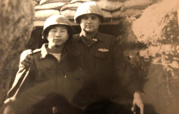 Tanny Reinsch made close friends in his service time in Korea, including an interpreter who remained a lifelong friend. Both are pictured in uniform.