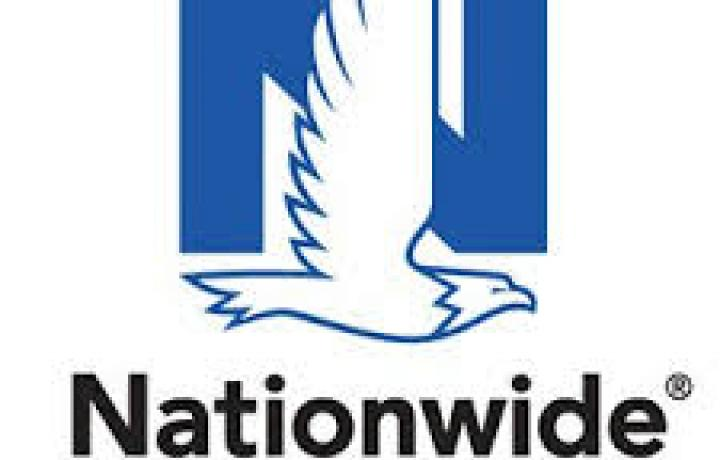 The Nationwide logo is pictured, with its trademark blue N and a bird flying in front.