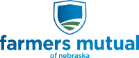 The logo for Farmers Mutual of Nebraska. It has blue and green colors and includes a shield with an abstract image of a field.
