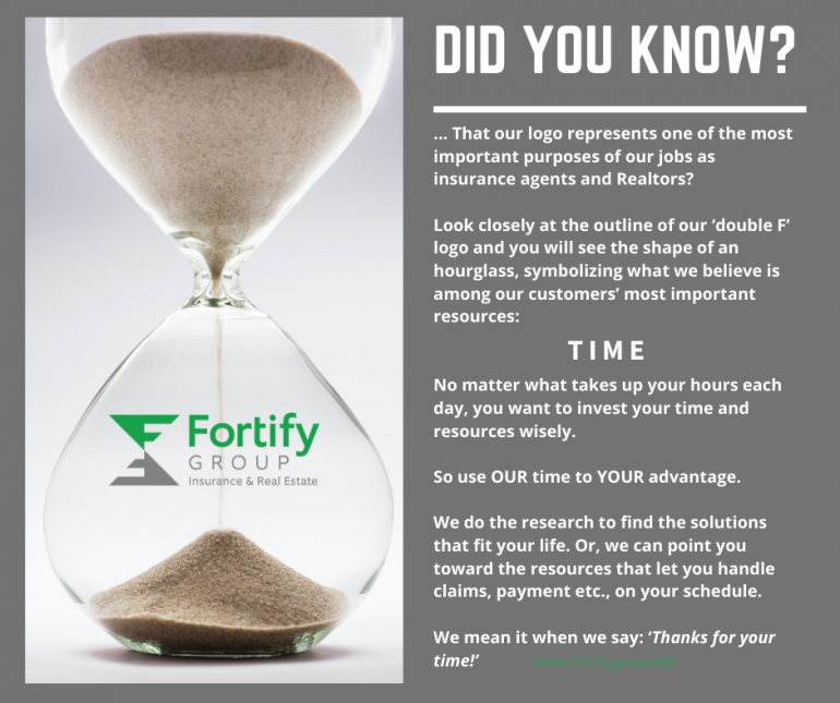A large clear glass hourglass is pictured with sand just starting to drain through. It accompanies info on how Fortify Group agents help customers save time.
