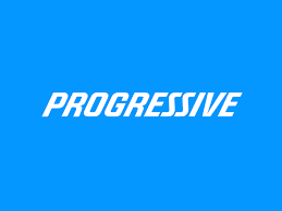 The Progressive logo is pictured - a solid blue box with progressive in white, italic letters in the middle. All uppercase.