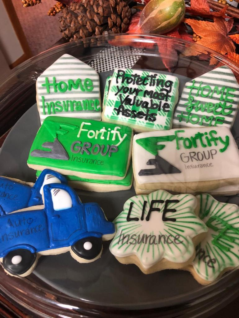 These delicious cookies decorated in Fortify and insurance themes were a hit with visitors!