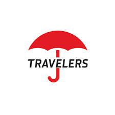 The Travelers logo is pictured - a red umbrella with the word Travelers (uppercase) written horizontally crossing the umbrella handle.