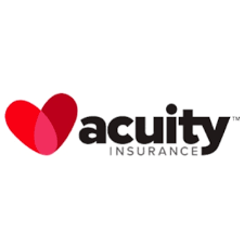 The Acuity Insurance logo pairs a two-toned heart with bold black, blocky letters.